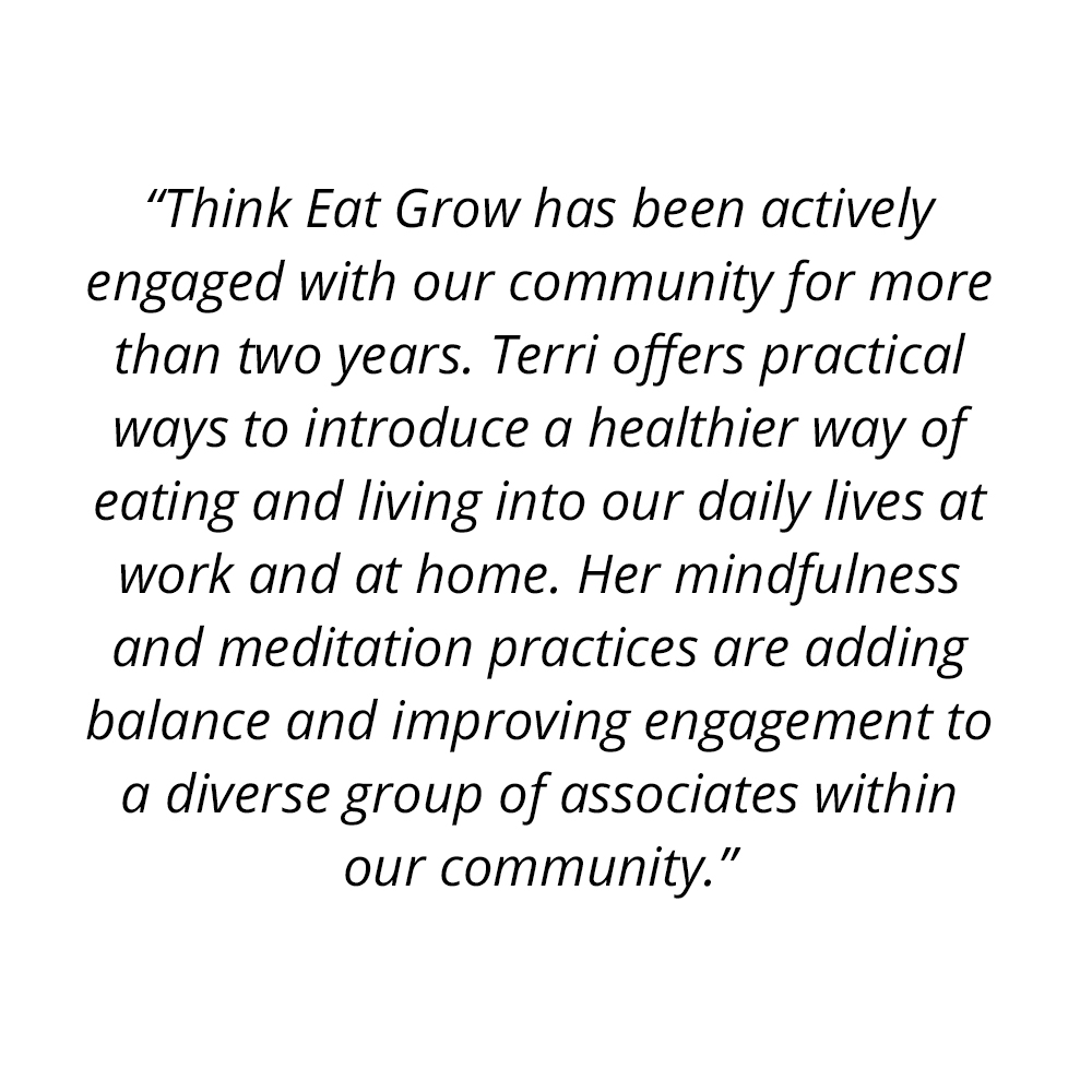 Think Eat Grow Testimonial